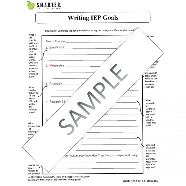 Sample copy of the SMARTER Steps Annotated IEP Template form