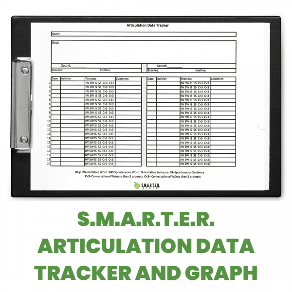 Rendering of SMARTER Steps SMARTER Articulation Data Tracker and Graph form on a black clipboard