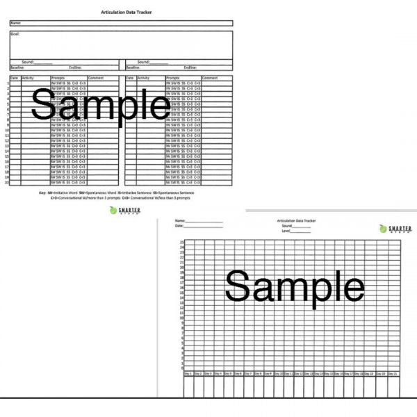 Sample forms of SMARTER Steps SMARTER Articulation Data Tracker and Graph sheets