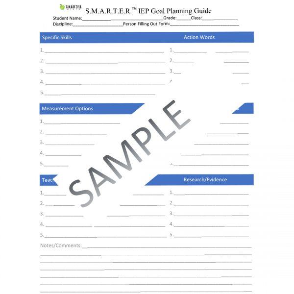 Sample form of SMARTER Steps SMARTER IEP Goal Planning Guide template