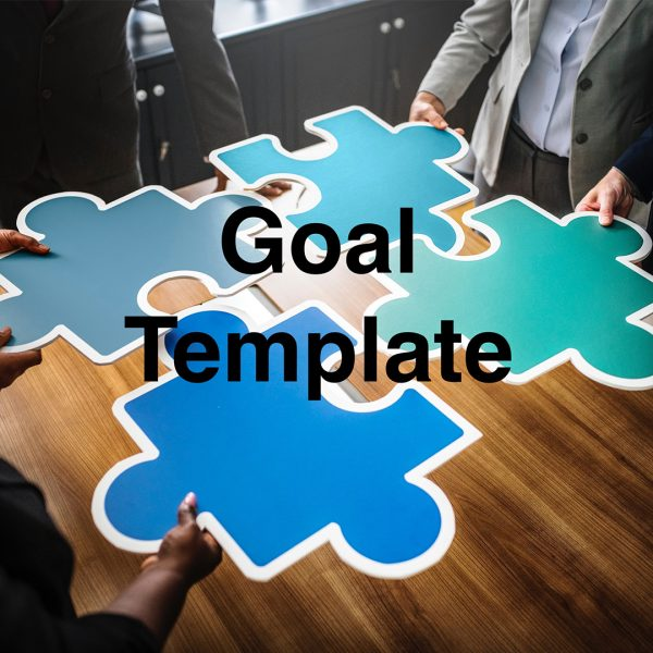 Four individuals holding up blue puzzle pieces on the SMARTER Steps Goal Template cover picture