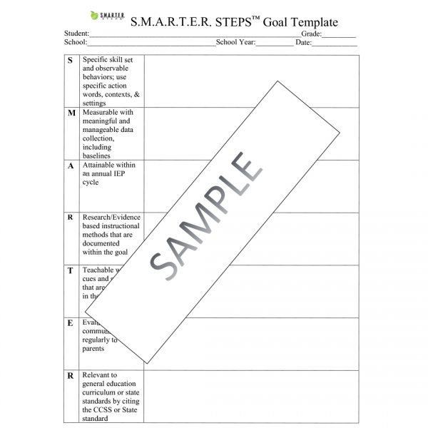 Sample form of the SMARTER Steps Goal Template worksheet