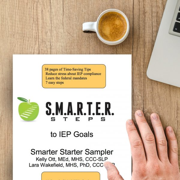 The SMARTER Steps IEP Goals Smarter Sampler guide sitting on a wooden table