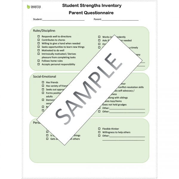 Sample form of the SMARTER Steps Student Strength Inventory survey