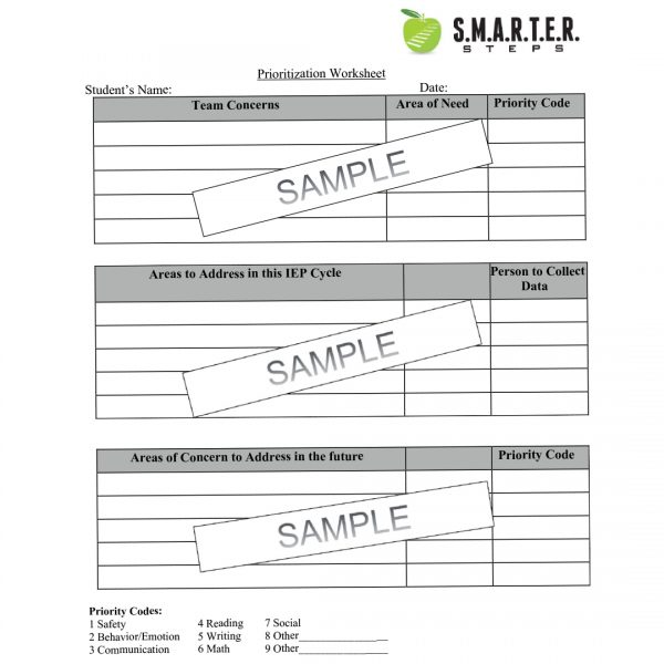 Sample template of the SMARTER Steps Prioritization worksheet for students and instructors