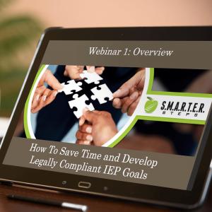 Smart tablet displaying a SMARTER Steps webinar sessions
