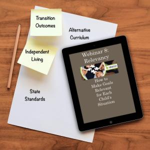 SMARTER Steps Webinar 8 Relevancy: How to Make Goals Relevant for Each Child's Situation displayed on a smart tablet