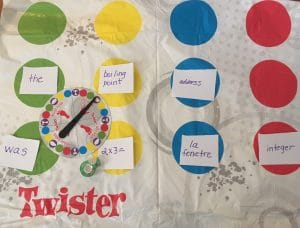 Twister game with spinner